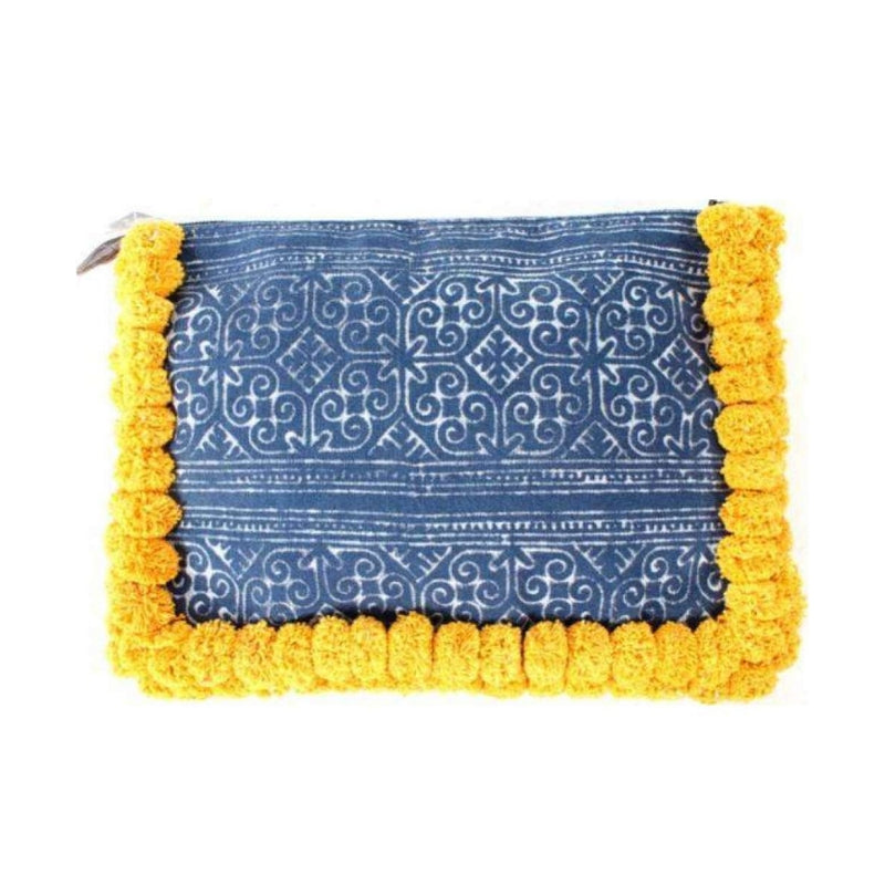 No.24 Women's Oversized Batik Clutch with Yellow Pom Poms