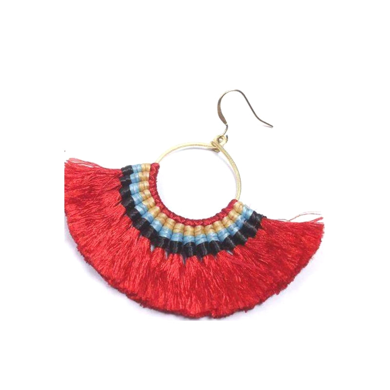 No.24 Women's Red Tassel Fan Earrings with Blue Contrast