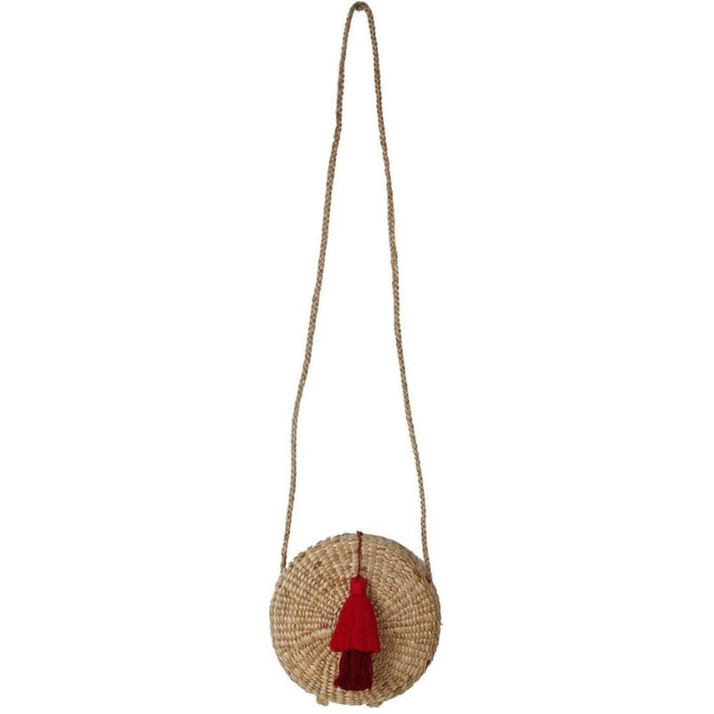 No.24 Women's Round Basket Bag with Tassel Red
