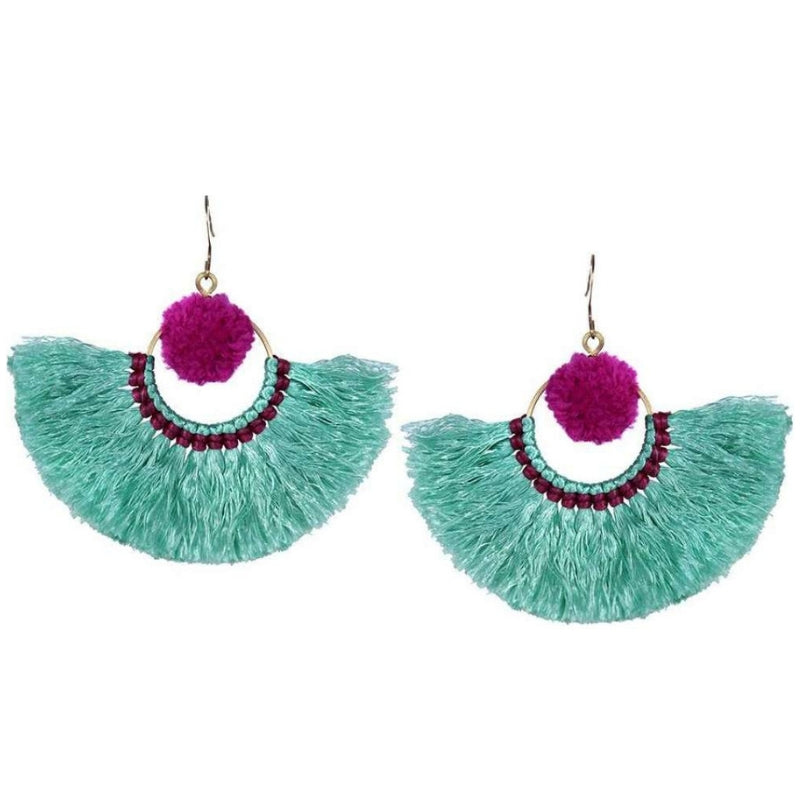 No.24 Women's Boho Pom Pom and Tassel Earrings Pink and Turquoise
