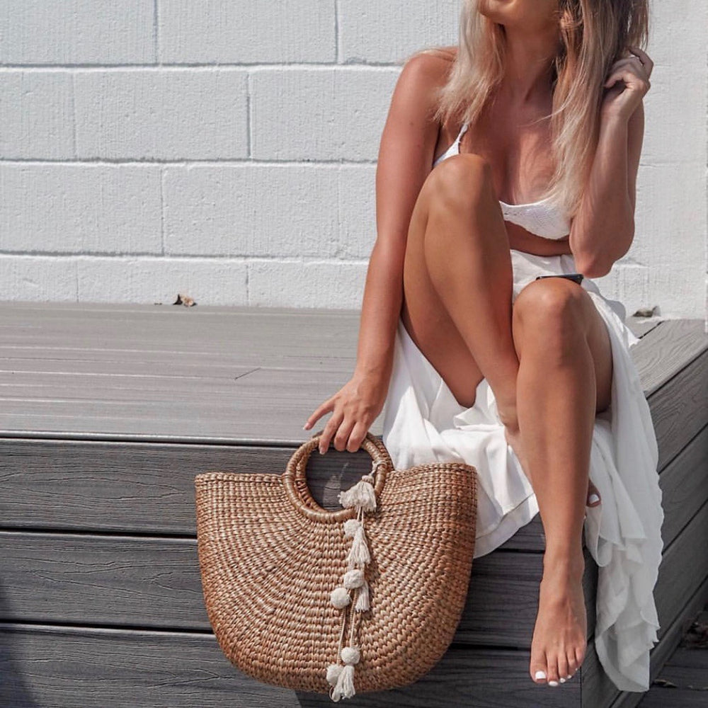 Large Boho Basket Bag with White Pom Poms