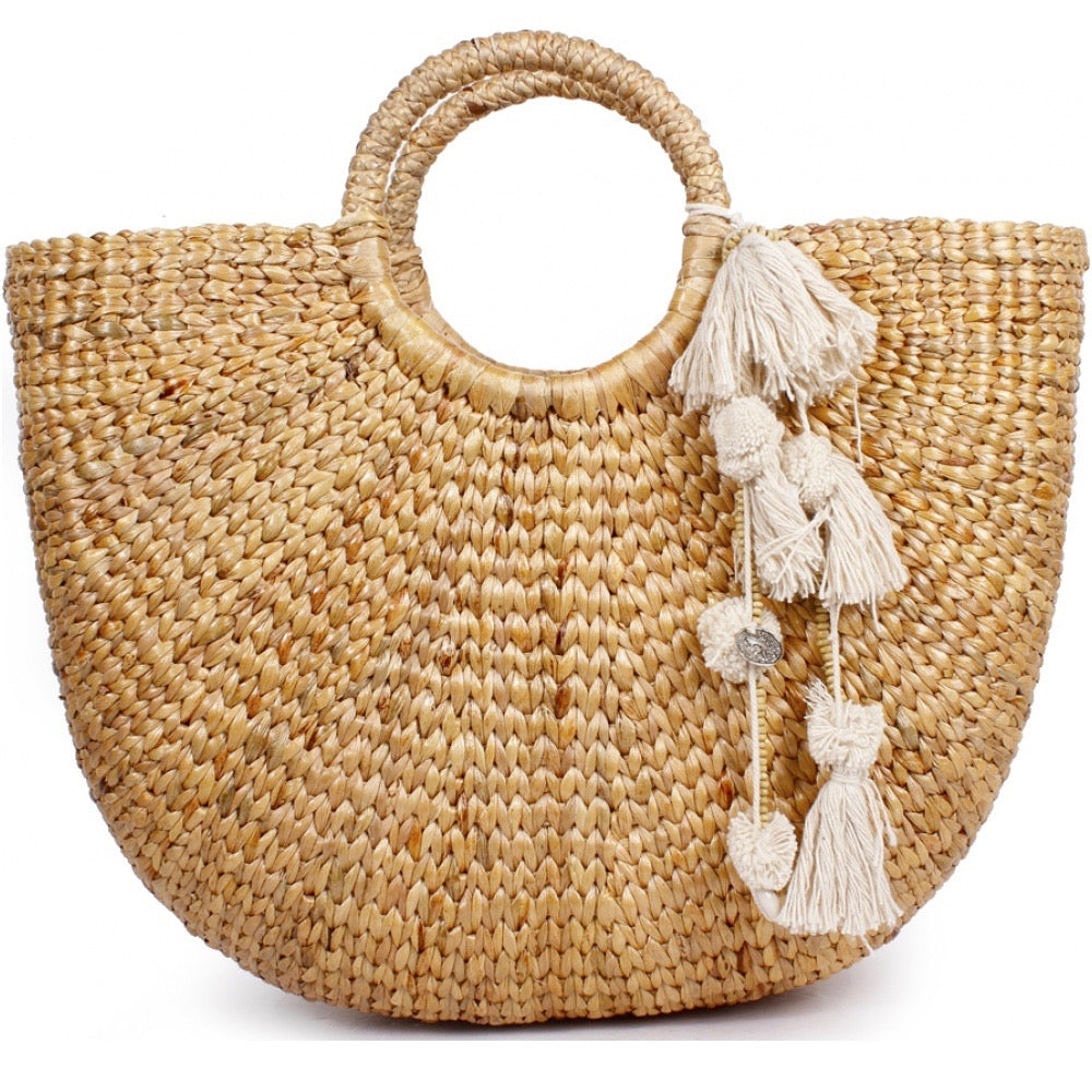 No.24 - Women's Large Basket Bag With Cream Pom Pom Detail