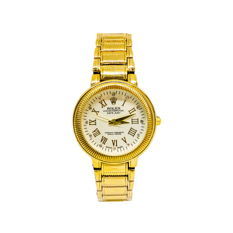 Women's Rolex Oyster Perpetual Gold Watch White Dial- Replica