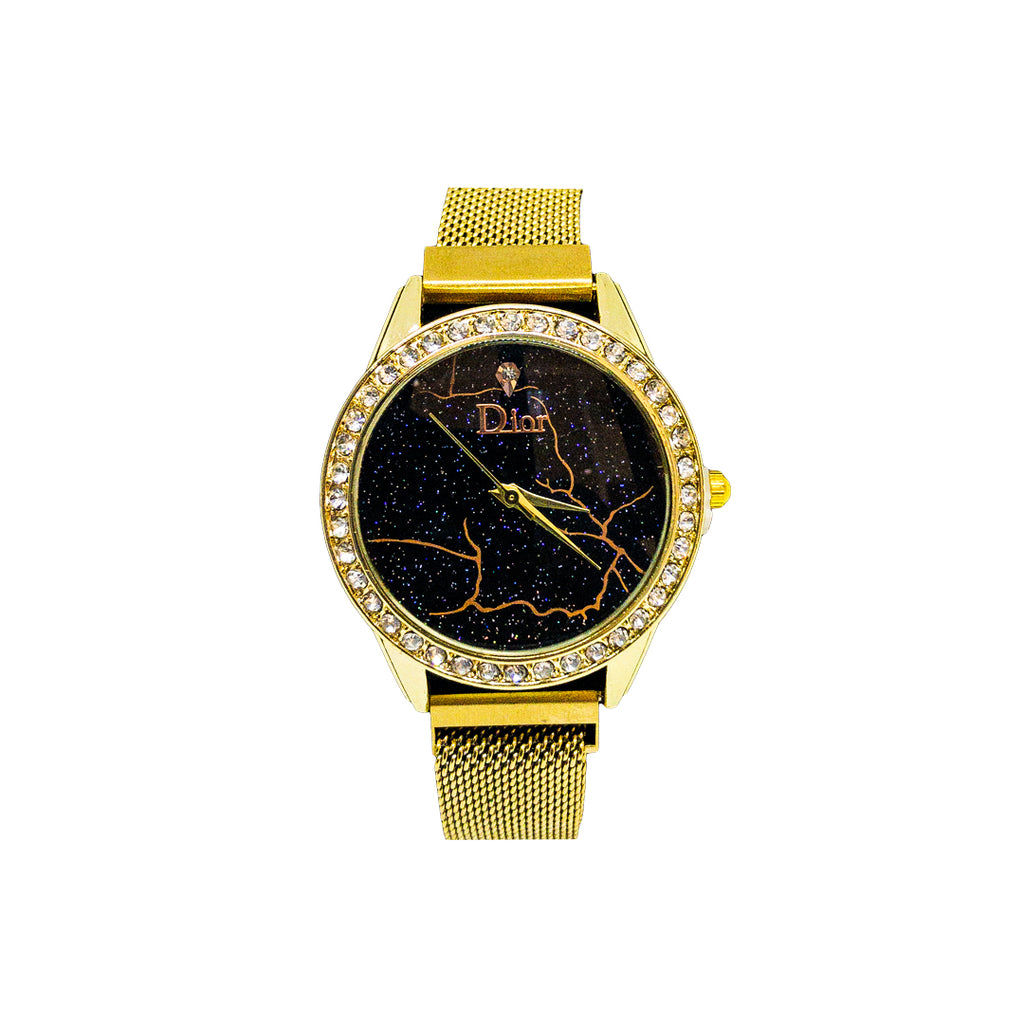 Dior Diamond Round Starry Night Dial Watch with Gold Body & Magnetic Chain - Replica
