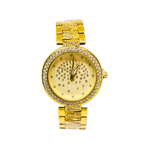 Luxury Gold Diamond Studded Watch - Replica