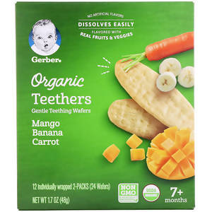 Gerber, Organic Teethers, Gentle Teething Wafers, 7+ Months, Mango Banana Carrot, 24 Wafers