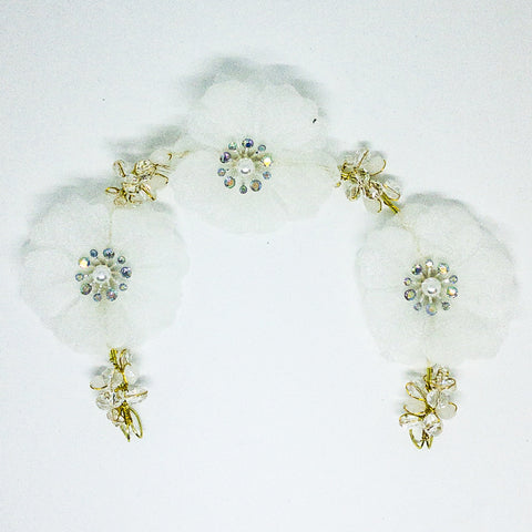 Weddings Hair Accessory Gold & White- Design #4 - MarkeetEx
