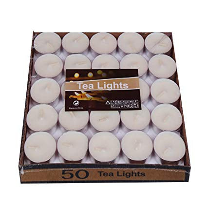 White Unscented Long Burning Tea Light Candles - شموع صغيرة من دون عطر