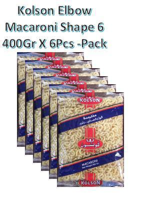 KOLSON Elbow Macroni 400g X 6Pcs Pack - Shape 6