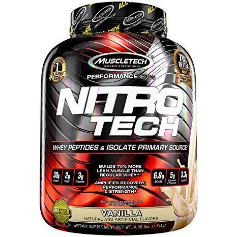 MuscleTech NitroTech Whey Protein Powder, Whey Isolate and Peptides, Vanilla, 1.81kg