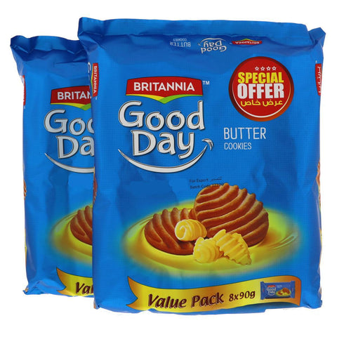 Britannia Good Day Butter Cookies 81gm X 8 Pcs - 2 Pack