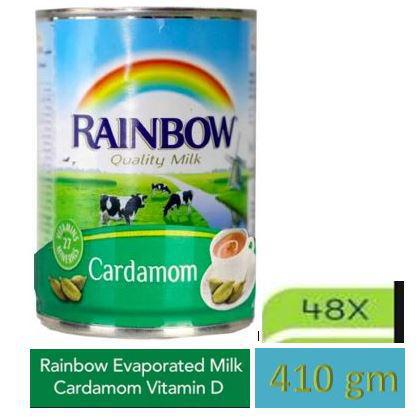 Rainbow Fresh Evaporated Milk - Cardamom 410gm/385ml x 48Pcs - MarkeetEx