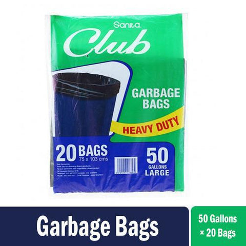 Sanita Club Garbage Bags Black 75 x 103 cms - 20 Bags - 50 Gallon Large - أكياس زبالة سوداء