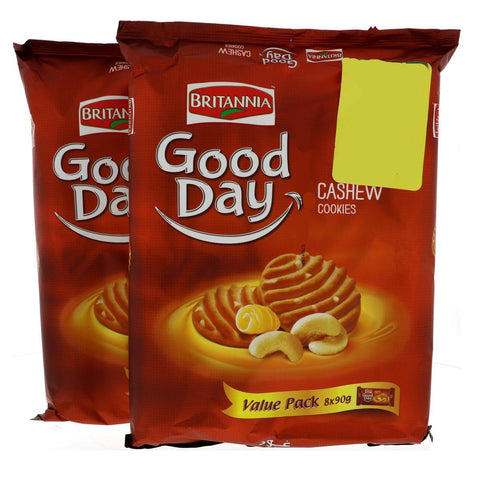 Britannia Good Day Cashew Cookies 81gm X 8 Pcs - 2 Pack