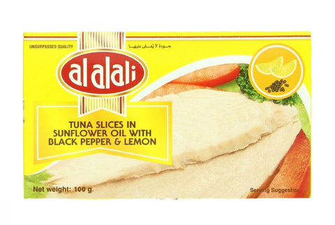 Al Alali Tuna Slices In Sunflower Oil with Black Pepper & Lemon 100gm