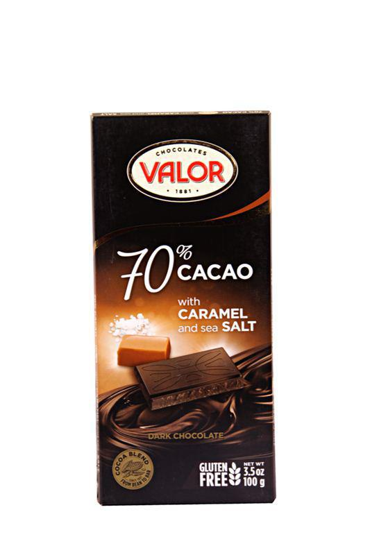 Valor 70% Cacao with Caramel and Sea SALT 100gm/3.5oz - MarkeetEx