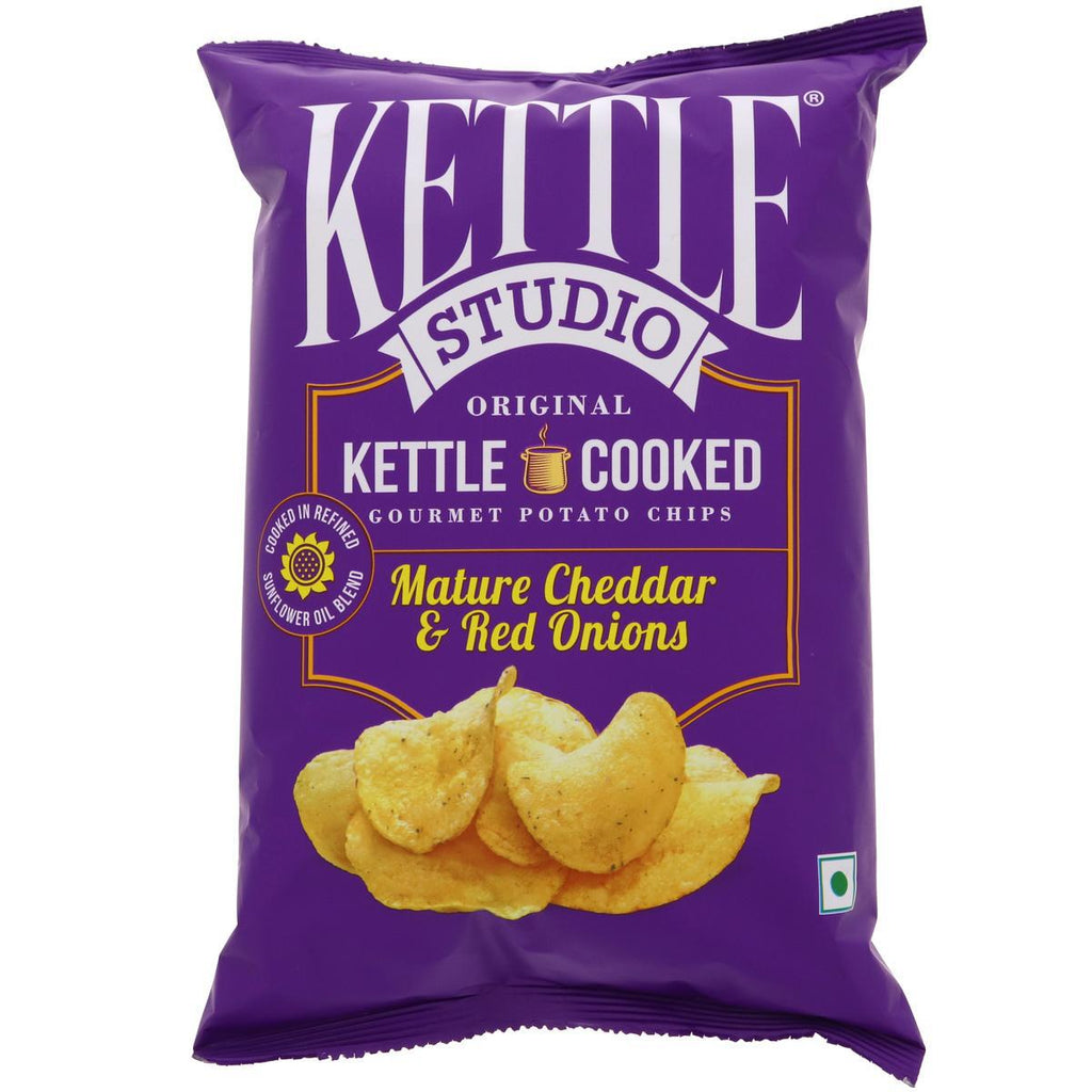 Kettle Studio Potato Chips - Mature Cheddar & Red Onions 125g