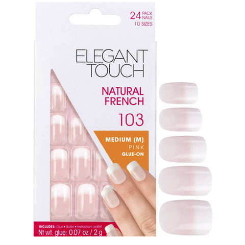Elegant Touch Natural French Artificial Nails Glue-On Medium Length Nails Extensions -103 American Girl Pink