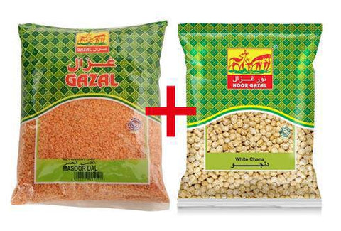 GHAZAL MASOOR DAL 1 KG + WHITE CHANA 14MM 700 GM