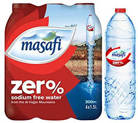 Masafi Drinking Water Zero Sodium 1.5Ltr X 6 Pcs Pack