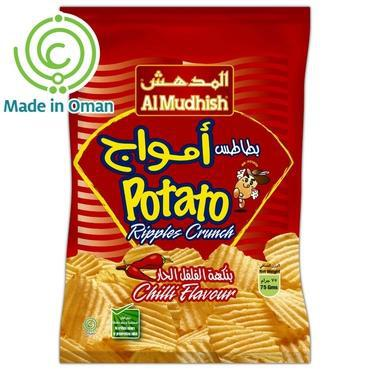 Al Mudhish Potato Ripples Crunch - Chilli Flavour -75gm Pack - MarkeetEx