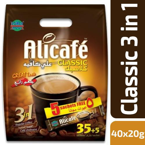 Alicafe Classic 3 in 1Regular Coffee 40 Sachet X 20gm Pack - MarkeetEx