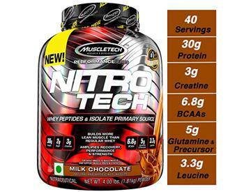 MuscleTech NitroTech Whey Protein Powder, Whey Isolate and Peptides, Milk Chocolate, 1.81kg