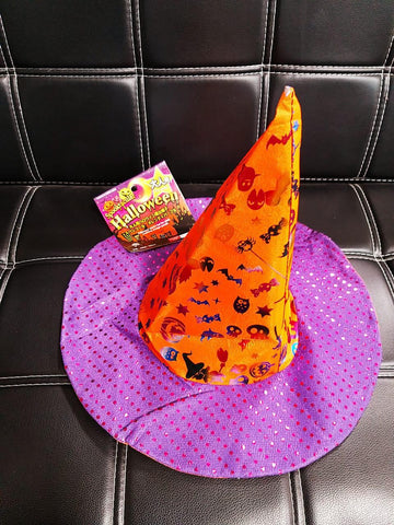 Spooktacular Halloween Witch's Hat for Adult Sequined, Orange and Purple
