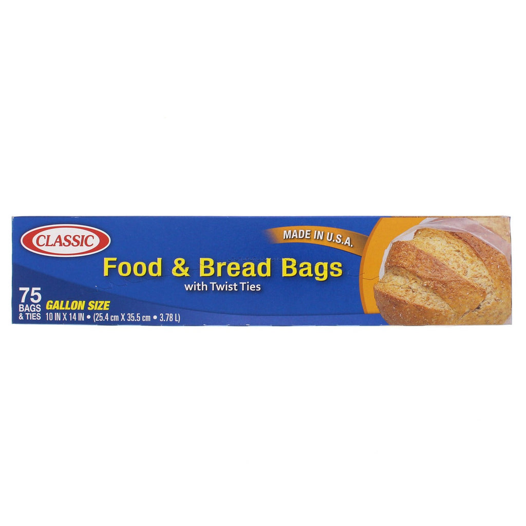 Classic Food & Bread Bags With Twist Ties 75Bag