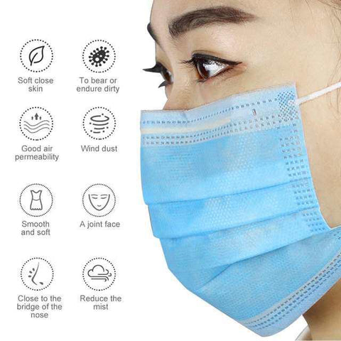 COK 3Ply Medical Surgical Face Mask,Disposable, Blue, 99% Filtration, Anti Bacterial, Protects against Flu and Viruses