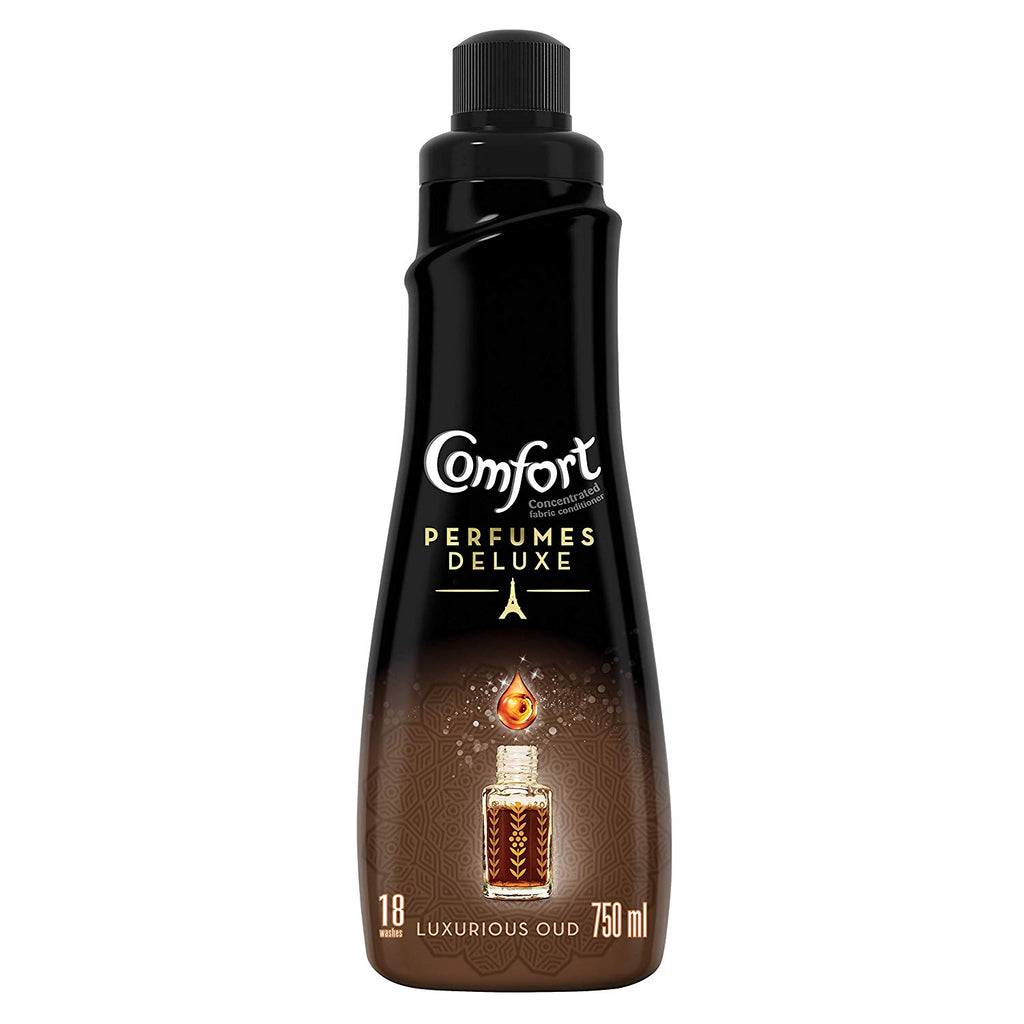 Comfort Perfumes Deluxe Concentrated Fabric Softener Luxurious OUD, 750ml - ملطف الأقمشة مع عطر الدلال كومفورت