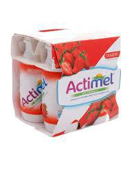 Actimel Strawberry - 4 X 96ml Pack - Flavored Dairy Drink