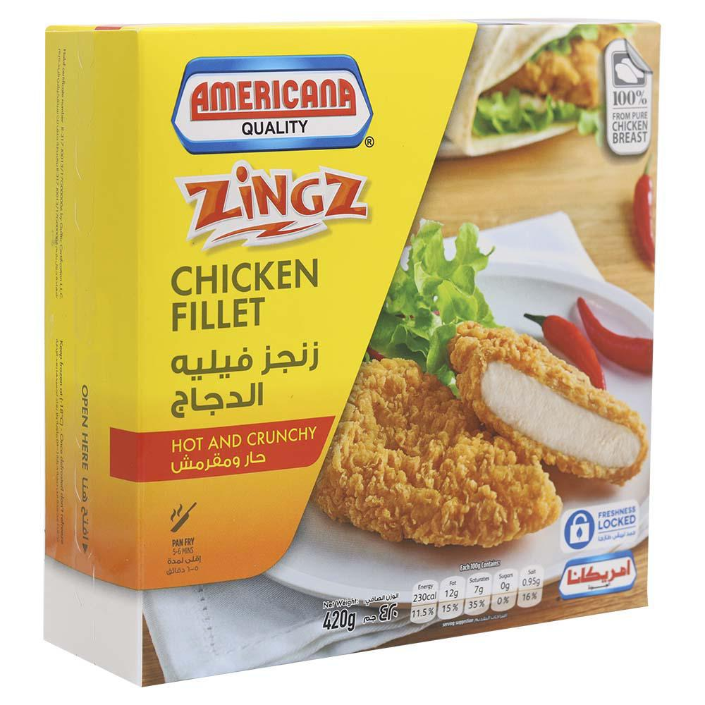American Quality Zingz Chicken Fillet Hot And Crunchy 420gm - MarkeetEx