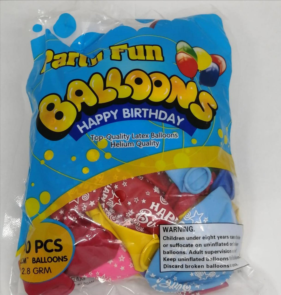 Multi Colour with Happy Birthday Party Balloons - 40pcs Pack / 30cm - MarkeetEx
