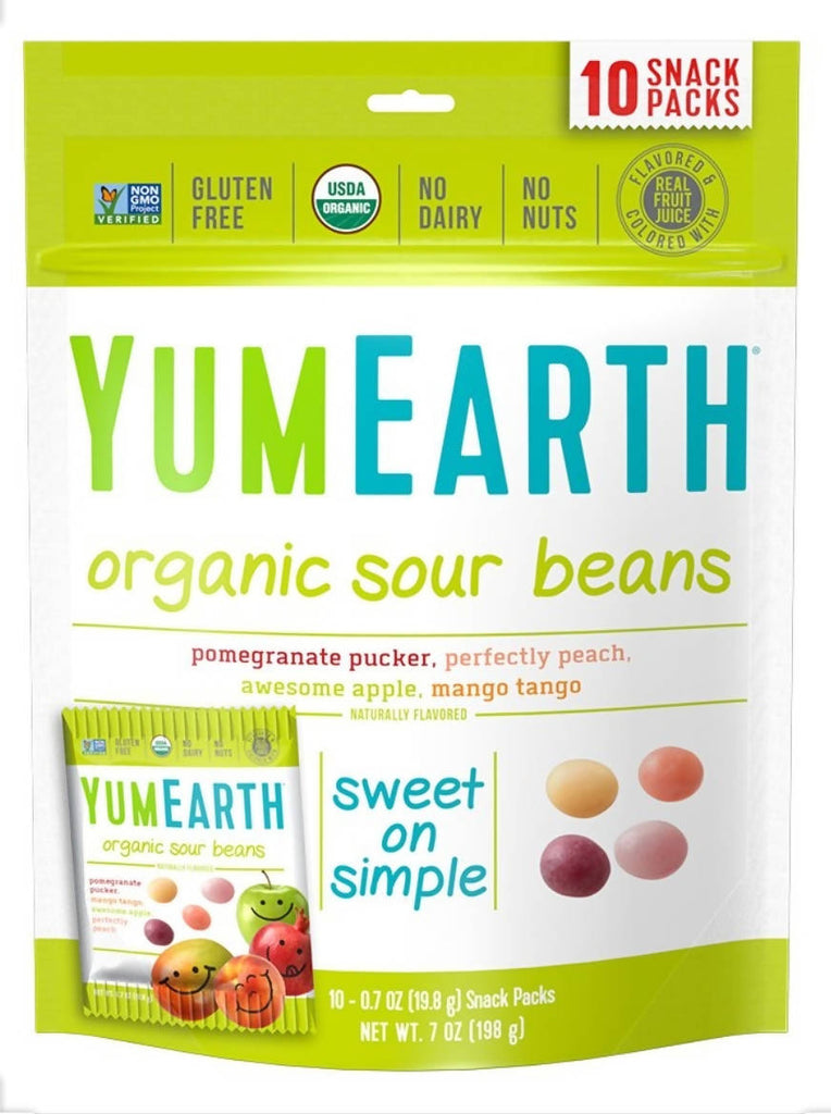 YUMEARTH Organic Sour Beans, Assorted Flavors, 10 Snack Packs (19.8 g) Each - MarkeetEx