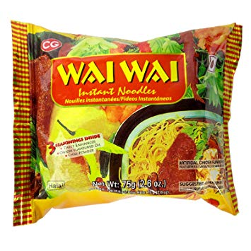 WAI WAI INSTANT NOODLES CHICKEN FLAVOURED 75GMSX5PCS PACK
