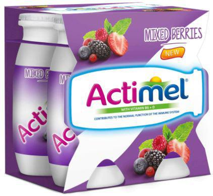 Actimel Mixed Berries - Skimmed Dairy Drink - 93ml X 4pcs Pack - MarkeetEx