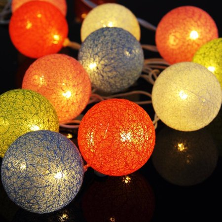LED Cotton Ball Light Ball String Lights 10Pcs