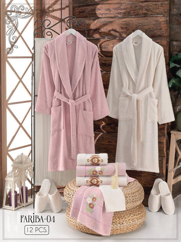 Fariba-04 - Free size Turkish cotton robe 12PCS set - MarkeetEx