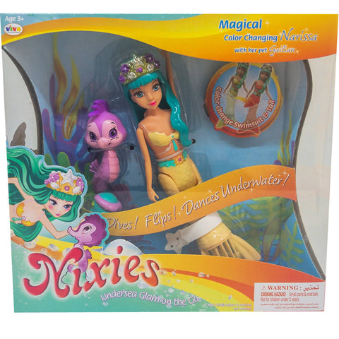 LIL FISHY'S Nixies Magical Color Changing Bella With Pet 3+Age