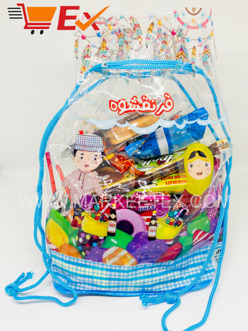Pack of 12 Transparent Gift Bags with Blue Ribbons