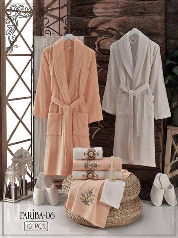 Fariba-06 - Free size Turkish cotton robe 12PCS set - MarkeetEx