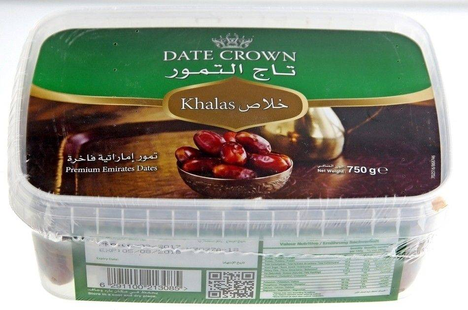 Date Crown khalas Tub 750gm - MarkeetEx