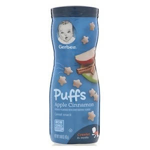 Gerber, Puffs Cereal Snack, 8+ Months, Apple Cinnamon, 1.48 oz (42 g)