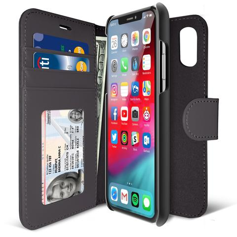 iLUV Wallet Case/Flip Cover with Detachable Slim Leather Xs Max-AIXDIARBK
