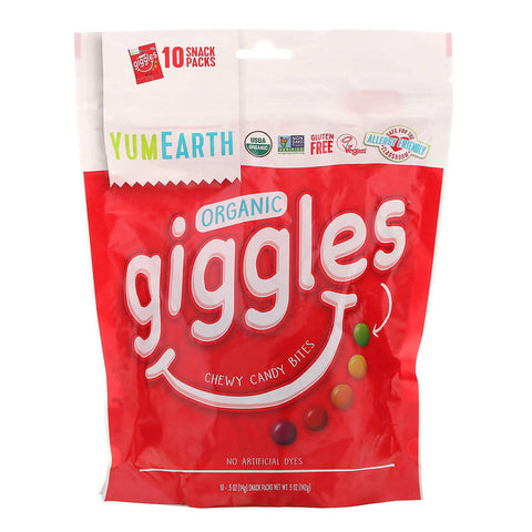 Organic Giggles, 10 Snack Packs, .5 oz (14 g) حلويات عضوية - MarkeetEx