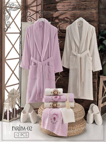 Fariba-02 - Free size Turkish cotton robe 12PCS set - MarkeetEx