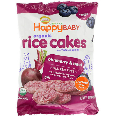 Happy Family Organics, Organic Rice Cakes, Puffed Rice Snack, Blueberry & Beet. - MarkeetEx