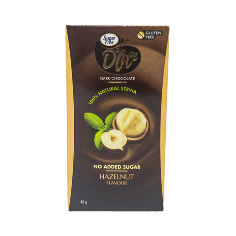D'lite Sugar Free Dark Chocolate Hazelnut 40GM