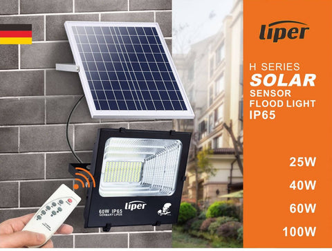 25W SOLAR WITH REMOTE LED FLOOD LIGHT - LIPER GERMANY - MarkeetEx